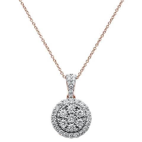 "1.04cts 14k Rose Gold Round Diamond Pendant Necklace 18"" Long"