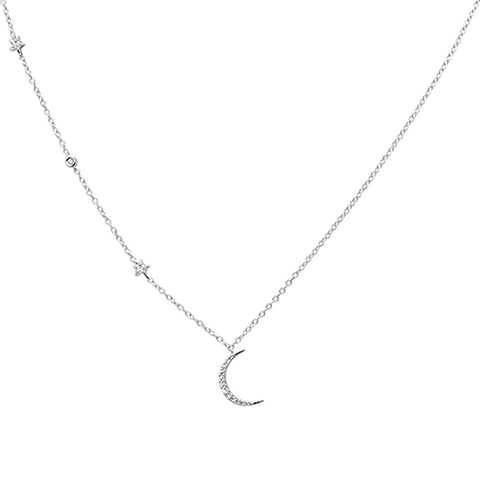 .11ct 14k White Gold Diamond Star Crescent Moon Trendy Necklace 18""