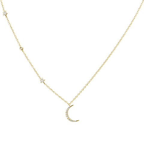 .09ct G SI 14kt Yellow Gold Diamond Crescent Moon & Stars Necklace Pendant