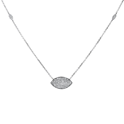 .24ct 14k White Gold Diamond Evil Eye Hamsah Protect Pendant Necklace 18""