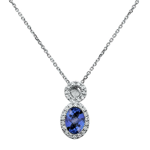 .56ct 10K White Gold Tanzanite & Diamond Pendant