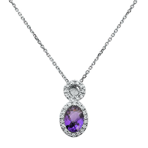 .56ct 10K White Gold Amethyst & Diamond Pendant