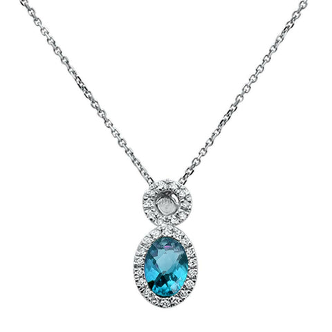 .77ct 10K White Gold Blue Topaz & Diamond Pendant