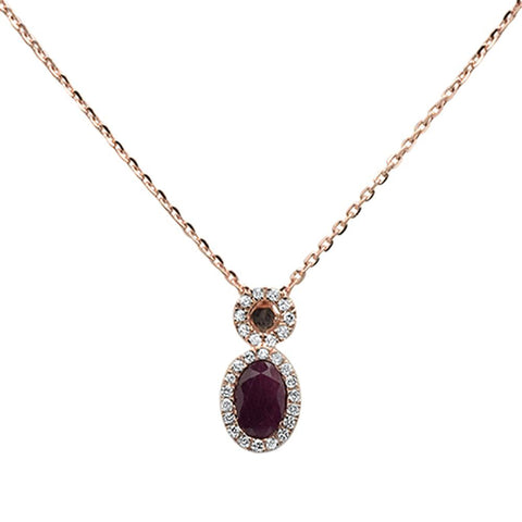 .80ct 10k Rose Gold Ruby & Diamond Pendant Necklace 18""