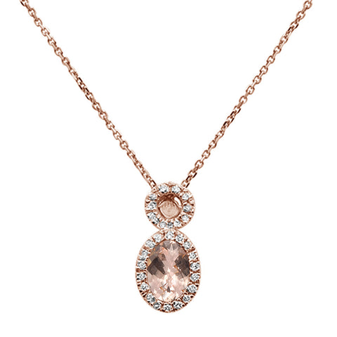".50ct Oval Morganite 10k Rose Gold Diamond Pendant Necklace 18"" Long"