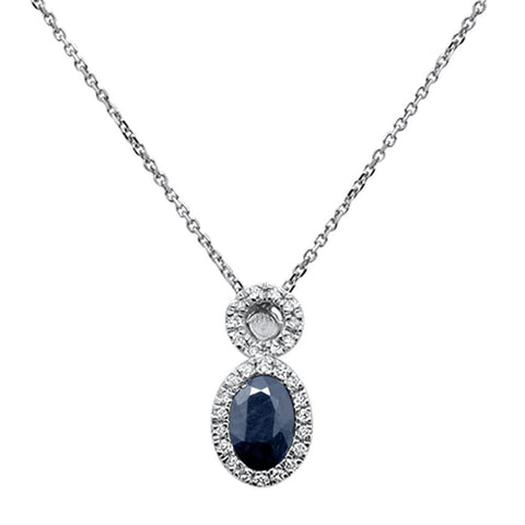 .60ct 10k White Gold Blue Sapphire & Diamond Pendant Necklace 18""