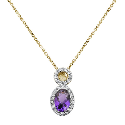 .51ct 10k Yellow Gold Amethyst & Diamond Pendant Necklace 18""