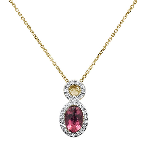 .59ct 10k Yellow Gold Pink Tourmaline & Diamond Pendant Necklace 18""