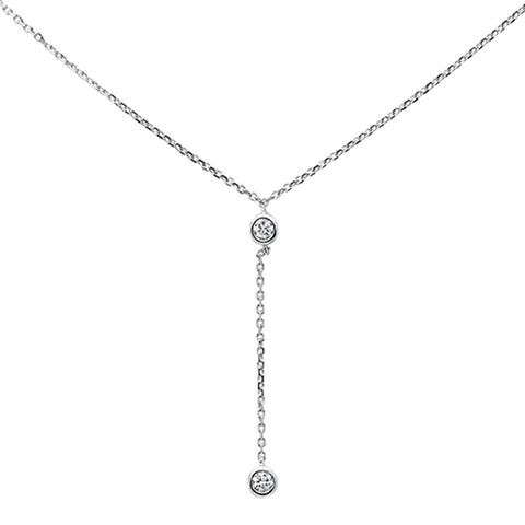 ".13ct 14k White Gold Diamond Lariat Drop Pendant Necklace 18"" Long"