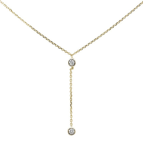 ".13ct 14k Yellow Gold Diamond Lariat Drop Pendant Necklace 18"" Long"