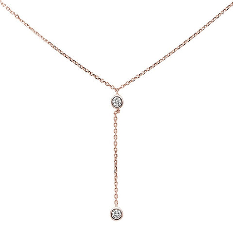 ".13ct 14k Rose Gold Diamond Lariat Drop Pendant Necklace 18"" Long"