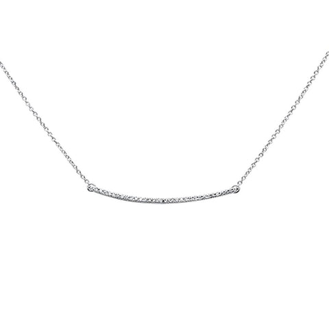 ".10ct 14k White Gold Diamond Bar Pendant Necklace 18"" Long"