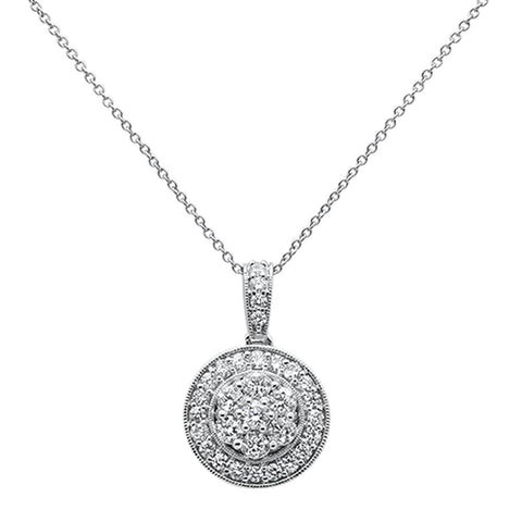 1.00ct 14k White Gold Diamond Halo Round Bezel Pendant Necklace 18""