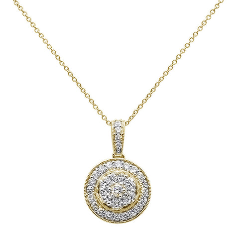 ".98ct 14k Yellow Gold Diamond Round Pendant Necklace 18"" Long"