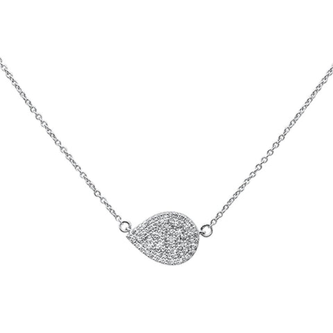.2ct 14k White Gold Diamond Pendant Sideways Tear Drop Layer Necklace 18""