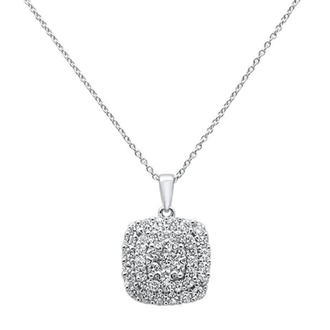 "1.00ct 14k White Gold Square Solitaire Diamond Pendant Necklace 18"" Long"