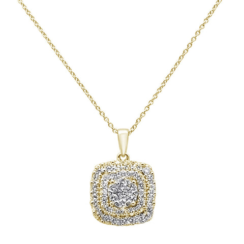 ".97ct 14k Yellow Gold Diamond Square Shaped Pendant Necklace 18"" Long"