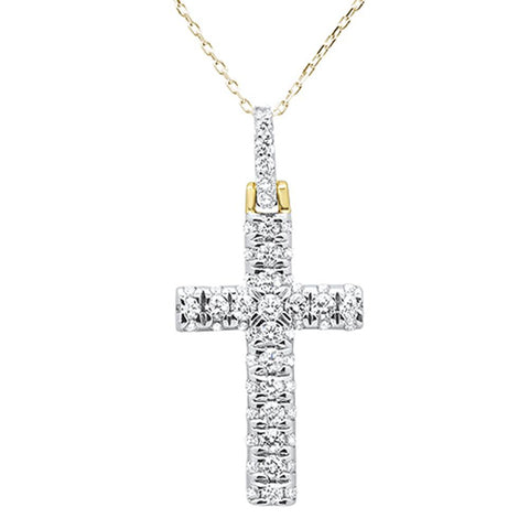1.00ct 14k Yellow Gold Diamond Micro Pave Cross Pendant Necklace 18""
