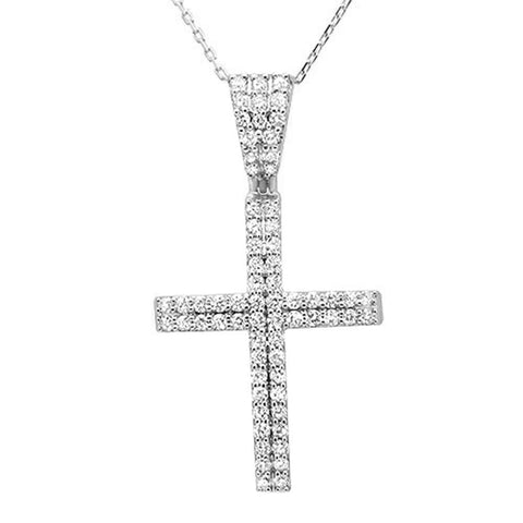 "1.00ct 14k White Gold Diamond Micro Pave Cross Pendant Necklace 18"" Long"
