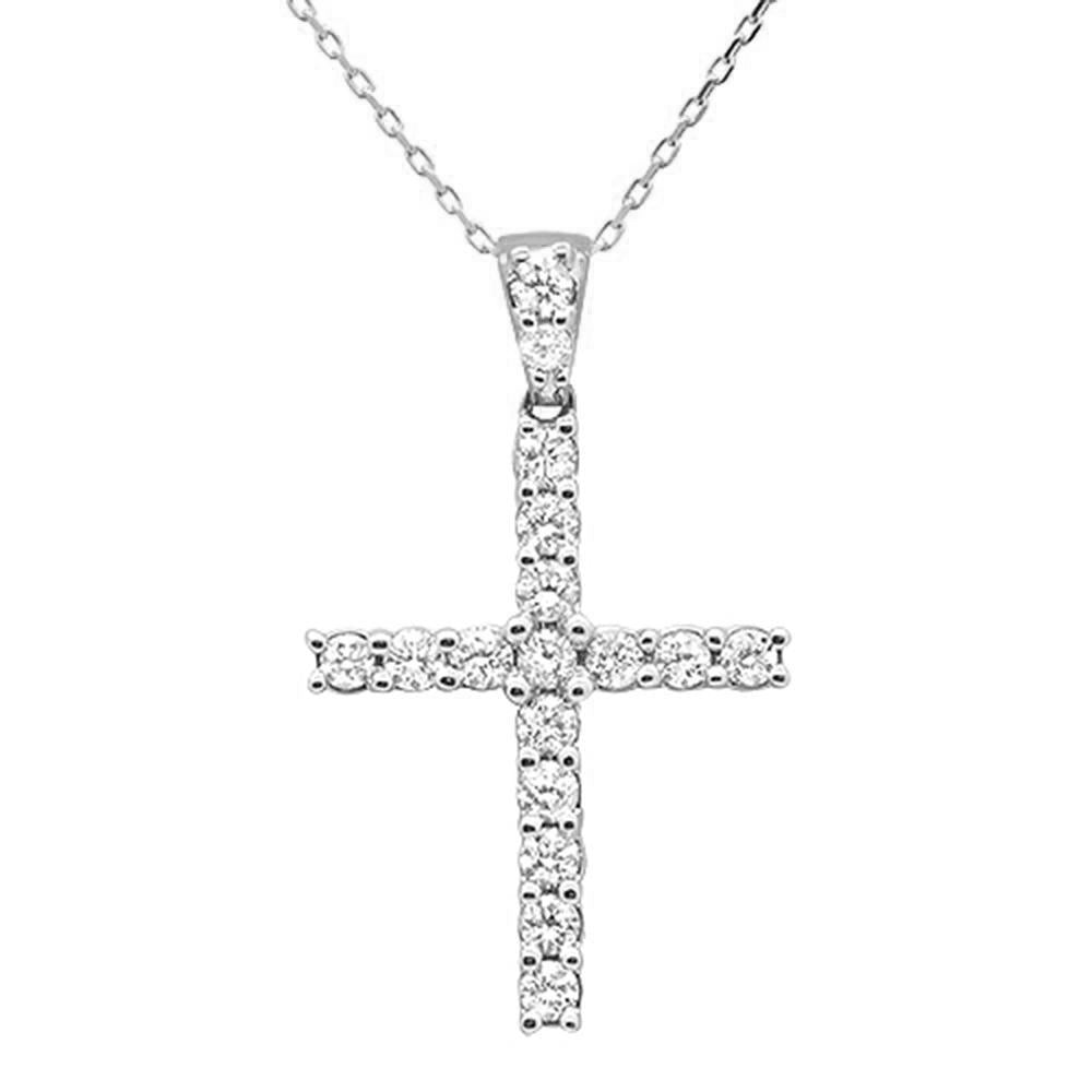 "<span style=""color:purple"">SPECIAL!</span>.99ct 14k White Gold Diamond Cross Pendant Necklace"