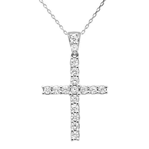 "<span style=""color:purple"">SPECIAL!</span>.99ct 14k White Gold Diamond Cross Pendant Necklace 18"" Long"