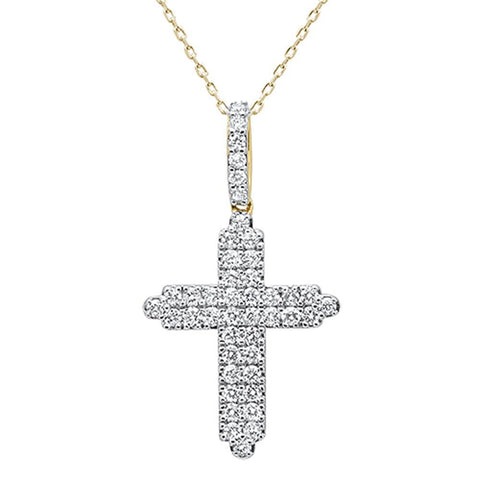 .97ct 14k Yellow Gold Diamond Micro Pave Cross Pendant Necklace 18""