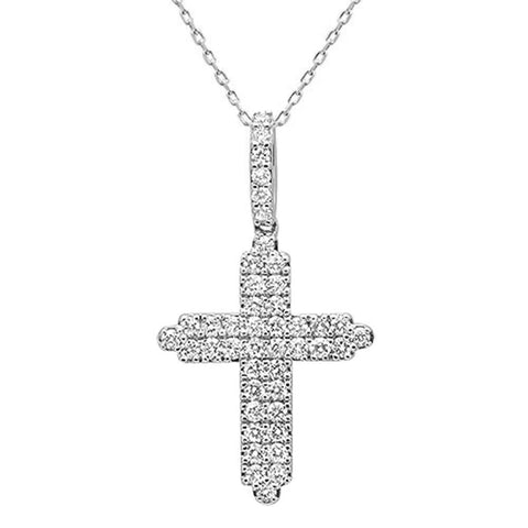 "<span style=""color:purple"">SPECIAL!</span>1.01ct 14k White Gold Diamond Cross Pendant Necklace 18"" Long"