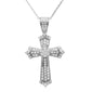 "<span style=""color:purple"">SPECIAL!</span>1.00ct 14k White Gold Diamond Micro Pave Cross Pendant Necklace 18"" Long"