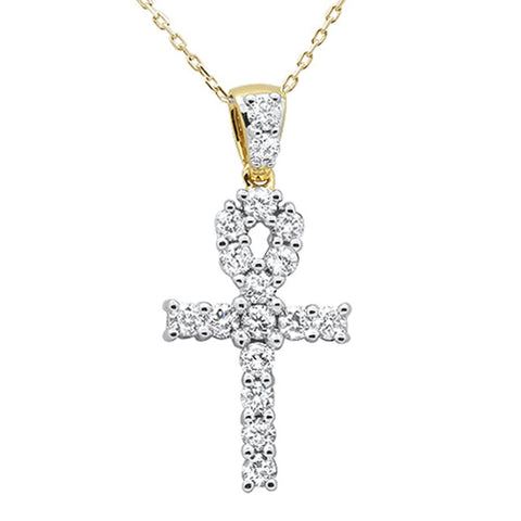 .98ct 14k Yellow Gold Diamond Micro Pave Cross Pendant Necklace 18""