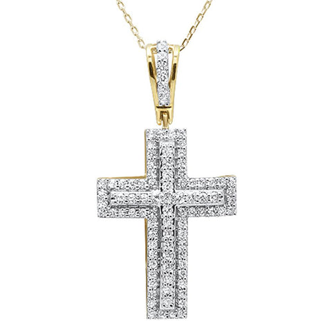 .99ct 14k Yellow Gold Diamond Micro Pave Cross Pendant Necklace 18""