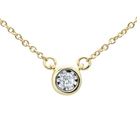 .04ct 14KT Yellow Gold Round Diamond Solitaire Pendant Necklace 18""