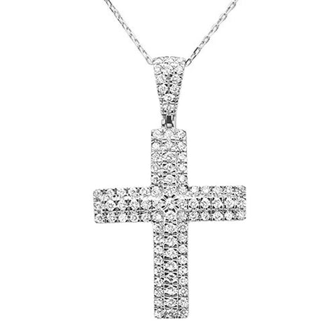 1.00ct 10k White Gold Diamond Cross Iced Pendant Necklace 18""