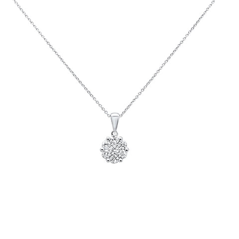 ".24cts 14k White gold Round Diamond Solitaire Pendant Necklace 18"" Long"
