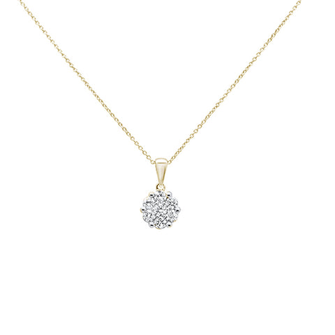 ".24cts 14k Yellow Gold Round Diamond Solitaire Pendant Necklace 18"" Long"