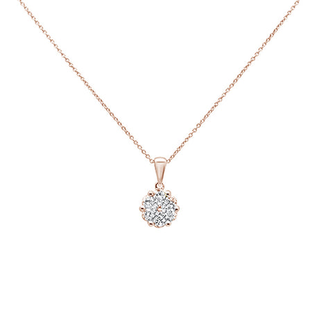 ".25ct 14k Rose Gold Round Diamond Solitaire Pendant Necklace 18"" Long"