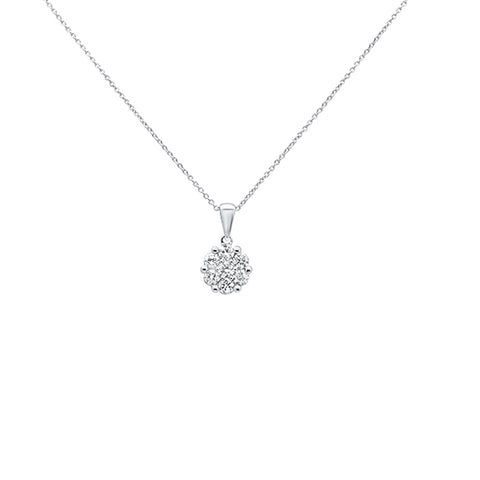 ".16cts 14k White gold Round Diamond Solitaire Pendant Necklace 18"" Long"