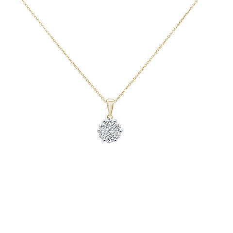 ".15cts 14k Yellow Gold Round Diamond Solitaire Pendant Necklace 18"" Long"