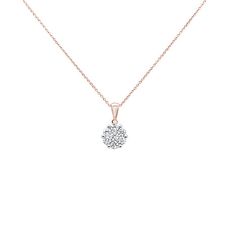".15cts 14k Rose Gold Round Diamond Solitaire Pendant Necklace 18"" Long"