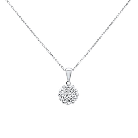 ".5cts 14k White gold Round Diamond Solitaire Pendant Necklace 18"" Long"