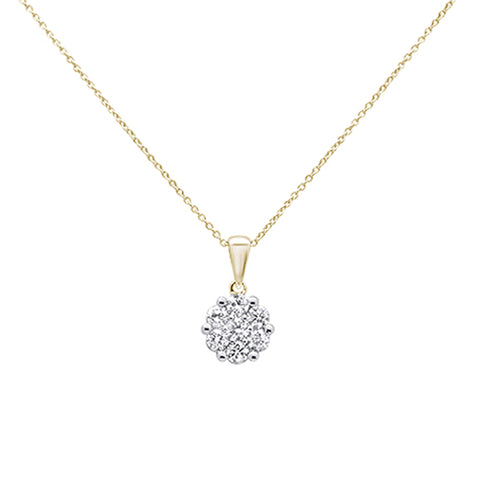 ".5cts 14k Yellow Gold Round Diamond Solitaire Pendant Necklace 18"" Long"