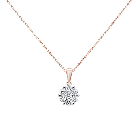 ".5cts 14k Rose Gold Round Diamond Solitaire Pendant Necklace 18"" Long"