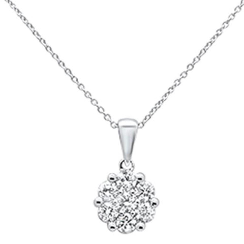 ".76cts 14k White gold Round Diamond Solitaire Pendant Necklace 18"" Long"