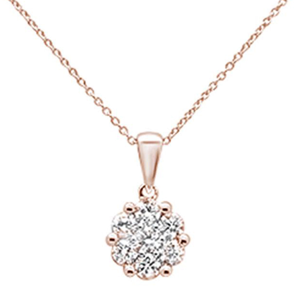 "<span style=""color:purple"">SPECIAL!</span>72ct 14k Rose Gold Round Diamond Solitaire Pendant Necklace 18"" Long"
