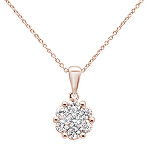 ".72ct 14k Rose Gold Round Diamond Solitaire Pendant Necklace 18"" Long"