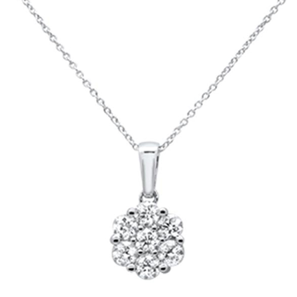 "<span style=""color:purple"">SPECIAL!</span>1.05ct 14k White Gold Diamond Solitaire Pendant Necklace 18"" Long"