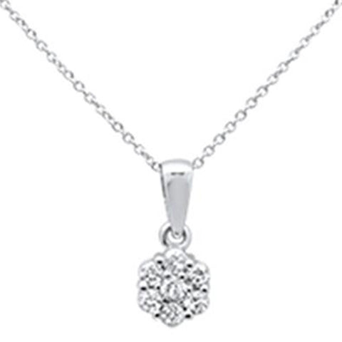 ".33ct 14k White Gold Round Diamond Solitaire Pendant Necklace 18"" Long"