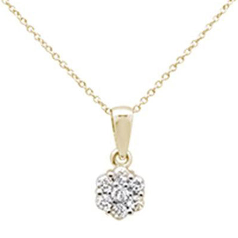 ".33ct 14k Yellow Gold Diamond Solitaire Pendant Necklace 18"" Long"