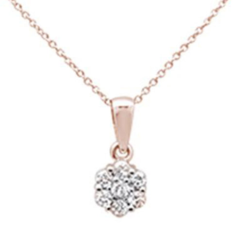".33ct 14k Rose Gold Round Diamond Solitaire Pendant Necklace 18"" Long"