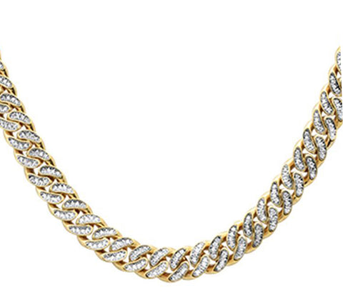 "9.65ct 12mm 10k Yellow Gold Diamond Micro Pave Cuban Link Necklace 22"" Long"