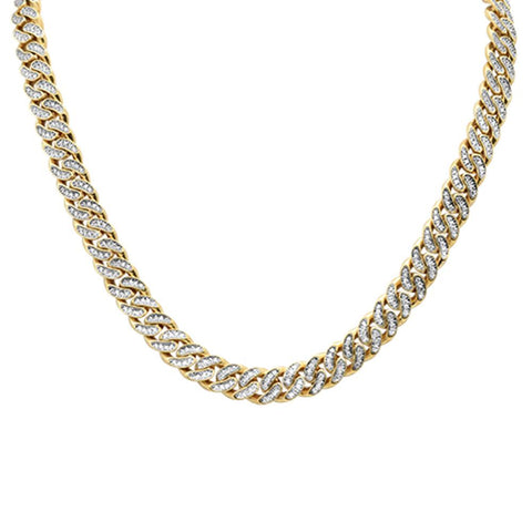 "6.90ct 10kt Yellow Gold Micro Pave Curb Link Chain 22"" Long"